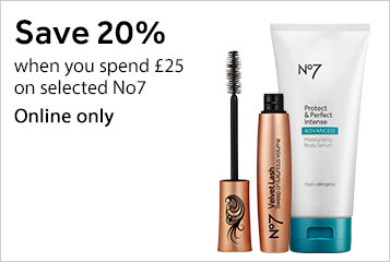 Save twenty percent when you spend twenty five pounds on selected no7