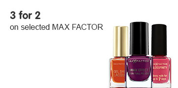Three for two on selected Max Factor