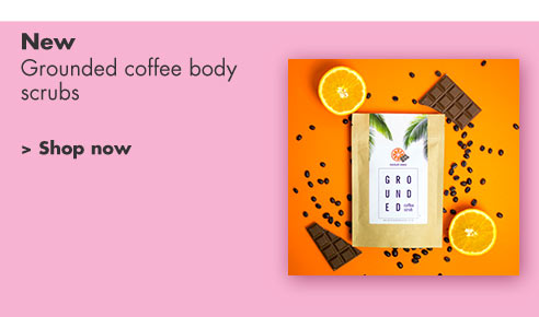Grounded coffee body scrubs