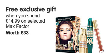 Free gift when you spend fifteen pounds ninety nine on selected Max Factor