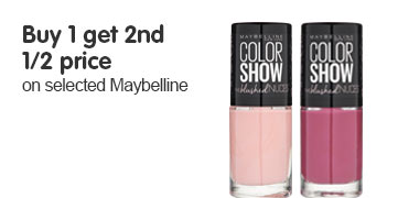 Buy one get a second half price on selected Maybelline