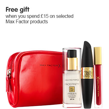 Free gift when you spend fifteen pounds on selected Max Factor
