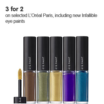 Three for two on selected LOreal. Including new infallible eye paints