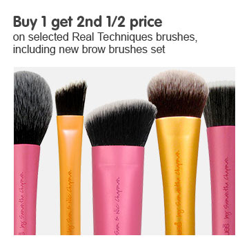 buy one get second half price on selected real techniques