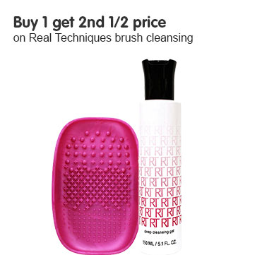 buy one get second half price on selected real techniques cleansing