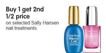 buy one get second half price on selected sally hansen nail treatments
