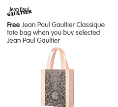 Free Jean Paul Gaultier Classique tote bag when you buy selected Jean Paul Gaultier fragrance