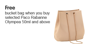Free bucket bag when you buy selected Paco Rabanne Olympea 50 ml and above