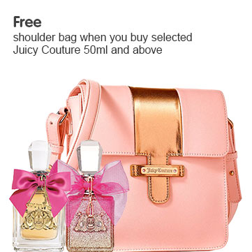 Free shoulder bag when you selected Juicy Couture 50ml and above