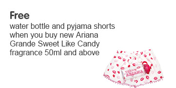 Free water bottle and pj shorts when you buy new Ariana Grande