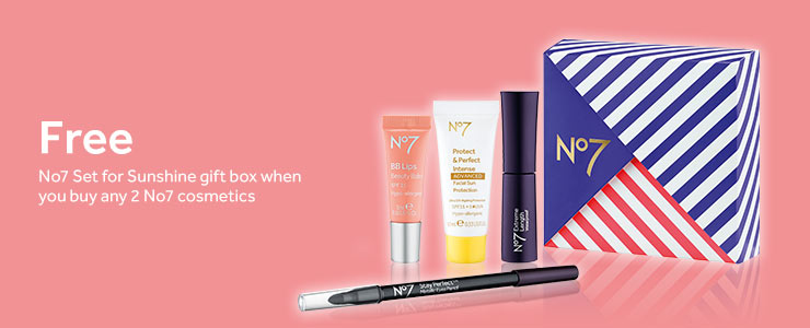 Free gift when you buy any 2 No7 cosmetics