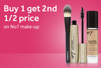 Buy one get second half price on No7 cosmetics