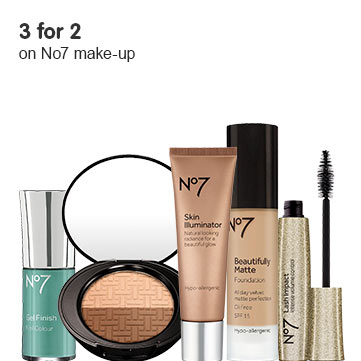 3 for 2 on selected No7 makeup