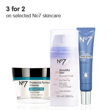 Three for Two on Selected No7 Skincare