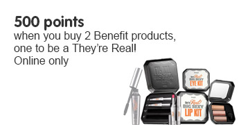 500 points when you buy 2 Benefit products, 1 to be They're Real