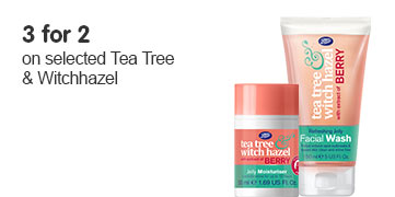 Three for two on selected tea tree and witch hazel