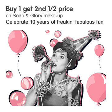 Buy one get the second half price on Soap and Glory makeup