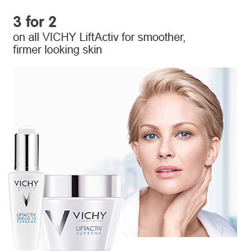 Three for two on all Vichy LiftActiv for smoother, firmer looking skin
