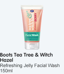 Tea tree and withc hazel jelly facial wash with berry extract