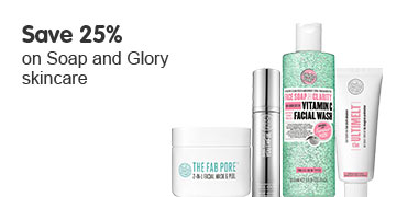 Save twenty five percent on selected Soap and Glory Skincare