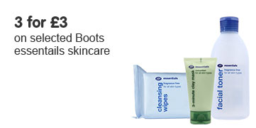 Three for three pounds on selected Boots Essentials