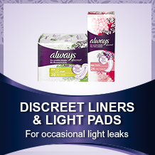 Discreet liners and pads