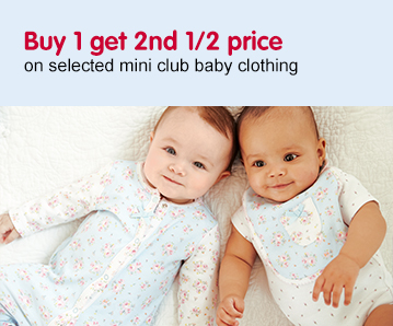Buy 1 get 2nd 1/2 price on selected Mini Club Clothing