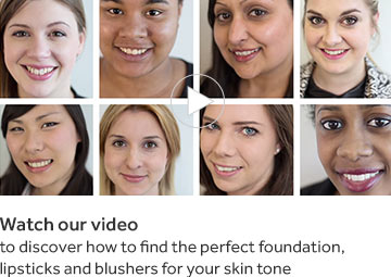 Watch our video to discover how to find the perfect foundation, lipstick and blushes for your skintone