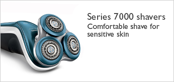 Philips series 7000 shavers. Comfortable shave for sensitive skin.