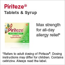 Piriteze tablets and syrup. Max strength for all day allergy relief