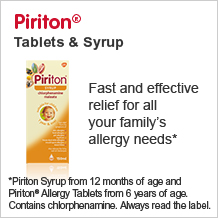 Piriton tablets and syrup. Fast and effective relief for all your familys allergy needs