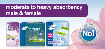 Tena moderate to heavy absorbancy male & female
