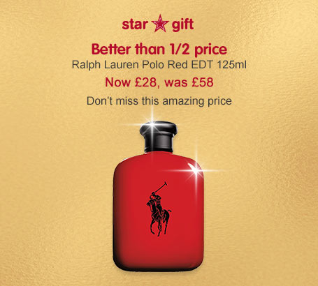 Ralph Lauren better than half price polo red EDT 125ml now £28
