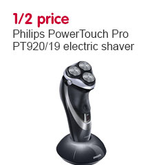 save 1 2 price on philips powertouch pro pt920 19 electric shaver. Black Bedroom Furniture Sets. Home Design Ideas