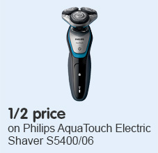 Half Price on Philips Shaver Series 5000 AquaTouch Electric Shaver S5400/06