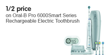 Half Price on Oral-B Pro 6000 Smart Series Rechargeable Electric Toothbrush