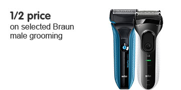 1/2 Price on selected Braun Male Grooming