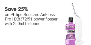 Save 25% Philips Airfloss Pro HX8372/51 Power Flosser with 250ml Listerine