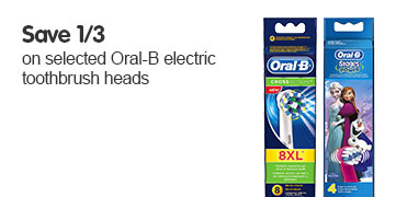 Save third on selected oral-b electric toothbrush heads