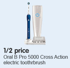 1/2 Price Oral B Pro 5000 Cross Action electric toothrbrush