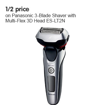 Half Price on Panasonic 3-Blade Shaver with Multi-Flex 3D Head ES-LT2N