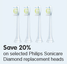Save 20% on selected Philips Sonicare Diamond replacements heads