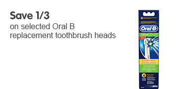 Save a third on selected Oral B replacement toothbrush heads