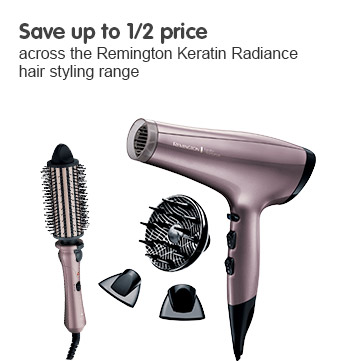 Save up to half price across the Remington Keratin Radiance hair styling range