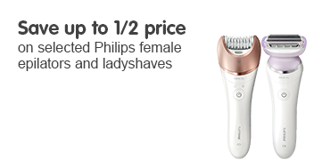Save up to 1/2 price on selected Philips female epilators and layshavers