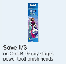 Save 1/3  Oral-B Disney stages power toothbrush heads 4 pack