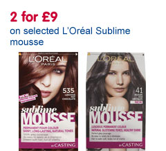 3 for �9 on selected L'Oreal Sublime Mousse