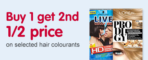 buy one get second half price on selected hair colourants