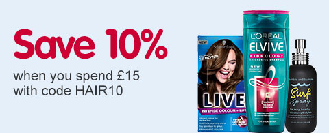 Save 10% when you spend £15 with code HAIR10