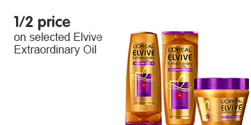 half price on selected Elvive Extraordinary Oil